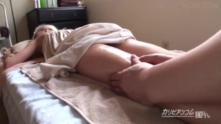 Young TEEN get rubbed in oil and fucked on the massage table