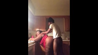 Stepsister sneaky to fuck in kitchen
