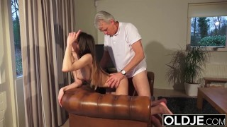 Old and Porn – Babysitter pussy fucked by old man and swallows cum