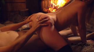 Sex by fireplace from real couple BonnieAlex.
